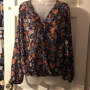 NWT Sheer Floral Blouse